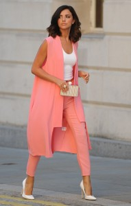 lucy mecklenburgh seen wearing a suit  from her  pretty little thing collection as she arrives at rosso restaurant in manchester  ******EXC ALLROUND*****  PICTURES BY STEPHEN FARRELL 07870 606209